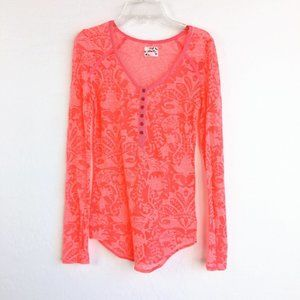 Free People Intimately Lace Pink Long Sleeve Top